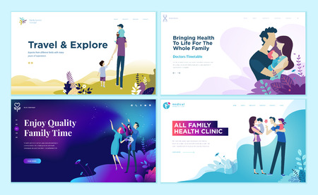 Set of web page design templates for family health care, travel and enjoying family activities.