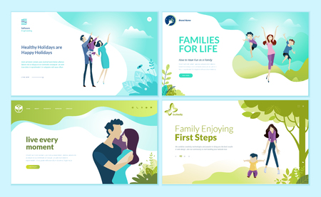 Set of web page design templates for happy family, family vacation, baby care.