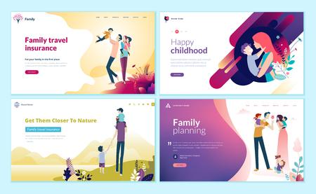 Zestaw szablonów projektu strony internetowej do planowania rodziny, ubezpieczenia podróżnego, przyrody i zdrowego życia. Ilustracje wektorowe