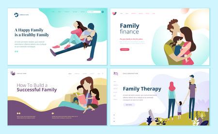 Conjunto de plantillas de diseño de páginas web para finanzas familiares, atención médica, terapia familiar.