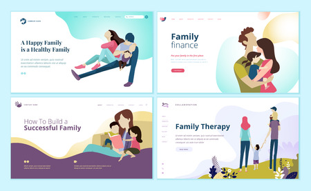 Set of web page design templates for family finance, health care, family therapy.