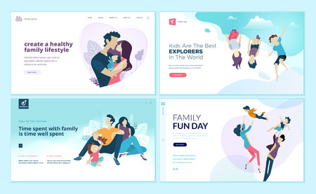 Set of web page design templates for family fun and entertainment