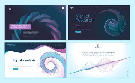 Set di modelli di progettazione di pagine web con sfondo astratto