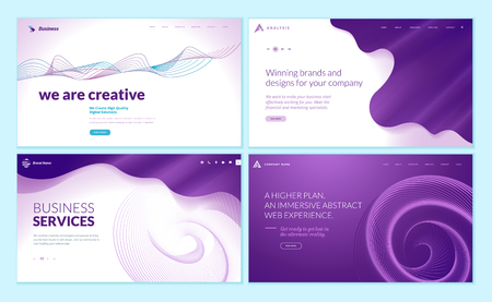 Set of web page design templates with abstract background
