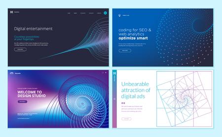 Conjunto de plantillas de diseño de páginas web con fondo abstracto