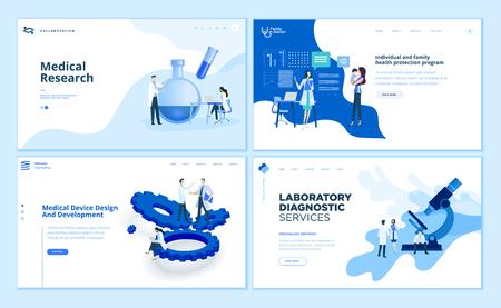 Kolekcja szablonów projektów stron internetowych z badań medycznych Ilustracje wektorowe