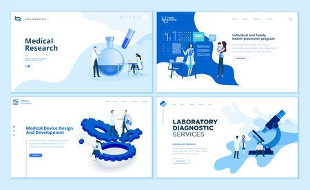 Sammlung von Vorlagen für das Webseitendesign der medizinischen Forschung Vektorgrafik