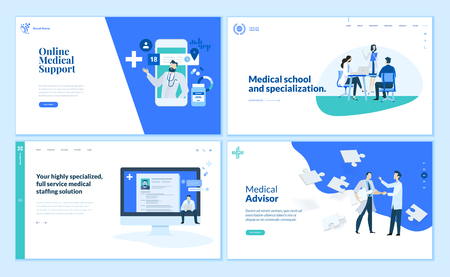 Sammlung von Webseiten-Designvorlagen für medizinische Online-Unterstützung Vektorgrafik
