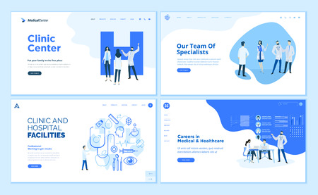 Web page design templates collection of clinic center, hospital facilities Vectores