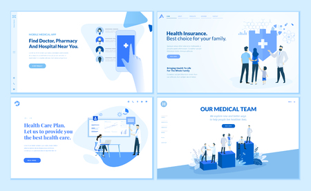 Web page design templates collection of health Ilustração