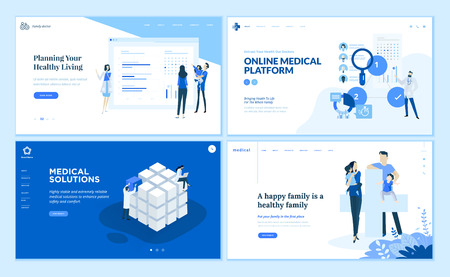 Web page design templates collection of medical solutions Illustration