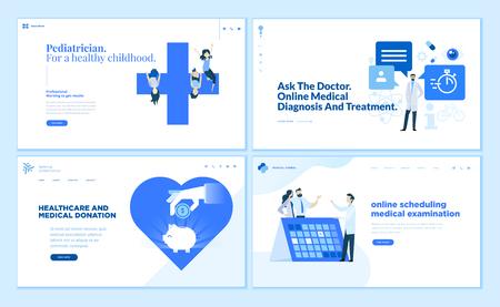 Colección de plantillas de diseño de páginas web de pediatra. Ilustración de vector