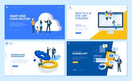 Set di modelli di pagine web dal design piatto di app aziendali, ricerca e sviluppo, soluzione cloud domestica, app per bambini. Concetti di illustrazione vettoriale moderna per lo sviluppo di siti Web e siti Web mobili. Vettoriali