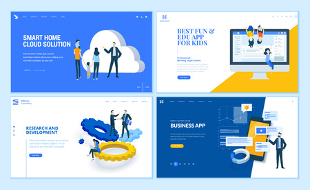 Set of flat design web page templates of business apps, research and development, home cloud solution, kids apps. Modern vector illustration concepts for website and mobile website development. 版權商用圖片 - 112404852