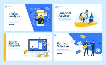 Zestaw szablonów stron internetowych Płaska konstrukcja analizy rynku, rozwiązania biznesowe, doradca finansowy, zarządzanie relacjami z klientami. Nowoczesne koncepcje ilustracji wektorowych do tworzenia witryn internetowych i witryn mobilnych.
