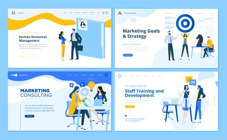 Conjunto de plantillas de páginas web de diseño plano de estrategia de marketing, consultoría, gestión de recursos humanos, formación de personal. Conceptos modernos de ilustración vectorial para el desarrollo de sitios web y sitios web móviles.