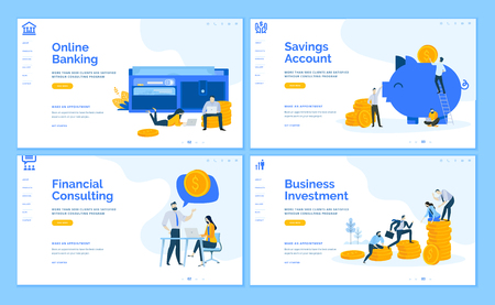 Set of flat design web page templates of online banking, financial consulting, savings, business investment. Modern vector illustration concepts for website and mobile website development. Illustration