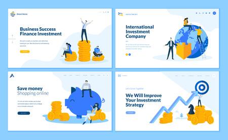 Set van platte ontwerp webpagina sjablonen van financiën, zakelijk succes, investeringen, online winkelen. Moderne vectorillustratieconcepten voor website en mobiele websiteontwikkeling.