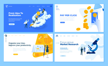 Set of flat design web page templates of startup, development process, market research, pay per click, time management. Modern vector illustration concepts for website and mobile website development. Illustration