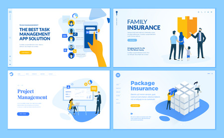 Set of flat design web page templates of task management, insurance, project management. Modern vector illustration concepts for website and mobile website development. Vettoriali
