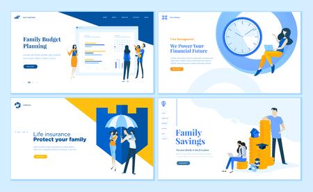 Set di modelli di pagine web dal design piatto di risparmio familiare, pianificazione del budget, assicurazione sulla vita, gestione del tempo. Concetti di illustrazione vettoriale moderna per lo sviluppo di siti Web e siti Web mobili.