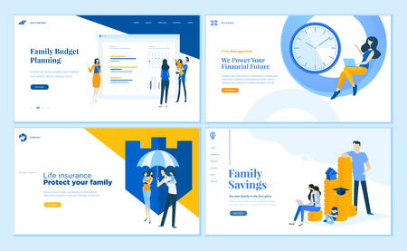 Set van platte ontwerp webpaginasjablonen van gezinsbesparingen, budgetplanning, levensverzekeringen, tijdbeheer. Moderne vectorillustratieconcepten voor website en mobiele websiteontwikkeling.