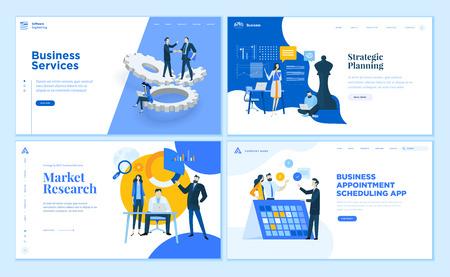 Set di modelli di pagine web dal design piatto di app e servizi aziendali, pianificazione strategica, ricerche di mercato. Concetti di illustrazione vettoriale moderna per lo sviluppo di siti Web e siti Web mobili. Vettoriali