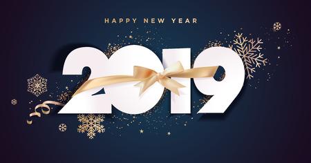 Cartolina d'auguri di felice anno nuovo 2019 di affari. Concetto di illustrazione vettoriale per sfondo, biglietto di auguri, sito Web e banner di siti Web mobili, biglietto di invito a una festa, banner di social media, materiale di marketing. Vettoriali