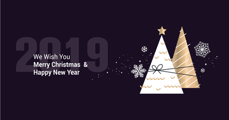 Merry Christmas and Happy New Year 2019 business greeting card. Vector illustration concept for background, party invitation card, website banner, social media banner, marketing material. Illustration