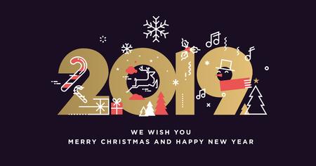 Feliz año nuevo 2019. Concepto de ilustración de vector de fondo, tarjeta de felicitación, sitio web y banner de sitio web móvil, tarjeta de invitación a fiesta, banner de redes sociales, material de marketing.