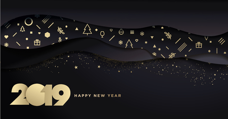 Happy New Year 2019. Vector illustration concept for background, greeting card, website and mobile website banner, party invitation card, social media banner, marketing material. Vector Illustration
