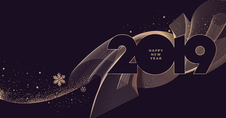 Happy New Year 2019 business greeting card. Modern vector illustration concept for background, greeting card, website banner, party invitation card, social media banner, marketing material. Illustration