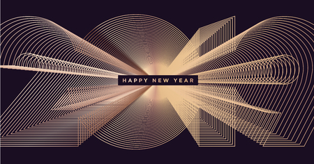 Happy New Year 2019 business greeting card. Modern vector illustration concept for background, greeting card, website and mobile website banner, party invitation card, social media banner, marketing material.