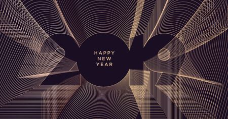 Happy New Year 2019. Modern vector illustration concept for background, greeting card, website and mobile website banner, party invitation card, social media banner, marketing material. Vector Illustration