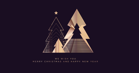 Merry Christmas and Happy New Year 2019. Modern vector illustration concept for background, greeting card, party invitation card, website banner, social media banner, marketing material. Illustration