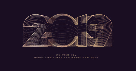 Merry Christmas and Happy New Year 2019 business greeting card. Modern vector illustration concept for background, party invitation card, website banner, social media banner, marketing material. Illustration