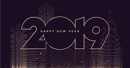 Happy New Year 2019. Modern vector illustration concept for background, greeting card, website and mobile website banner, party invitation card, social media banner, marketing material.