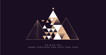 Cartolina d'auguri di buon Natale e felice anno nuovo 2019. Moderno concetto di illustrazione vettoriale per sfondo, carta di invito a una festa, banner del sito Web, banner dei social media, materiale di marketing. Vettoriali