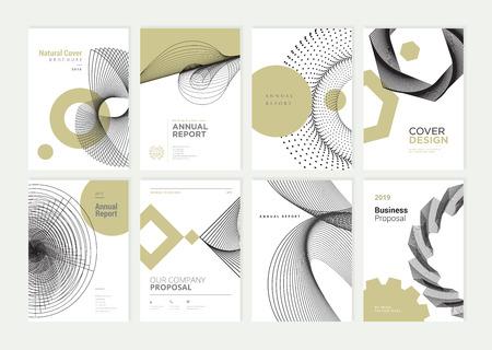 Conjunto de folletos, informes anuales, plantillas de diseño de folletos en tamaño A4. Ilustración de vector