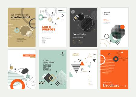 Zestaw broszur, raportów rocznych, szablonów projektów ulotek w formacie A4.