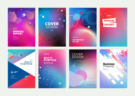 Set of brochure, annual report, flyer design templates in A4 size. 免版税图像 - 118852802