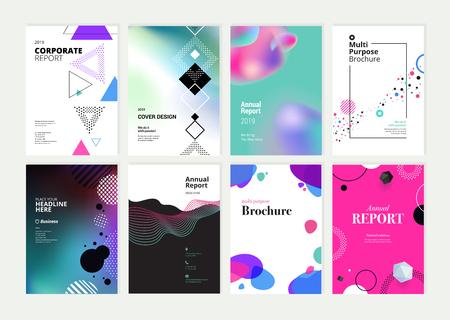 Set di brochure, relazione annuale, modelli di progettazione di volantini in formato A4.
