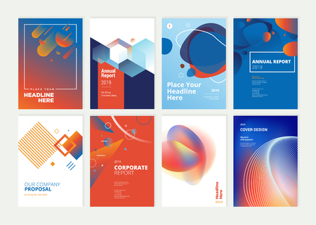 Zestaw broszur, raportów rocznych, szablonów projektów ulotek w formacie A4. Ilustracje wektorowe