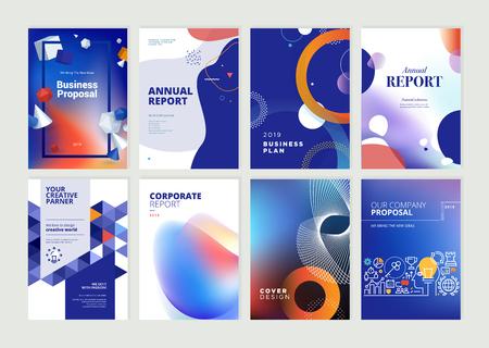 Conjunto de folletos, informes anuales, plantillas de diseño de folletos en tamaño A4