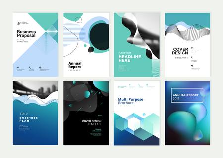 Conjunto de folletos, informes anuales, plantillas de diseño de folletos en tamaño A4.