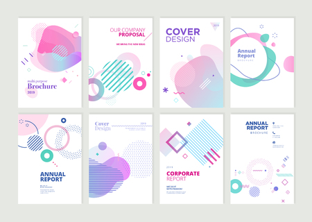 Set of brochure, annual report and cover design templates for beauty