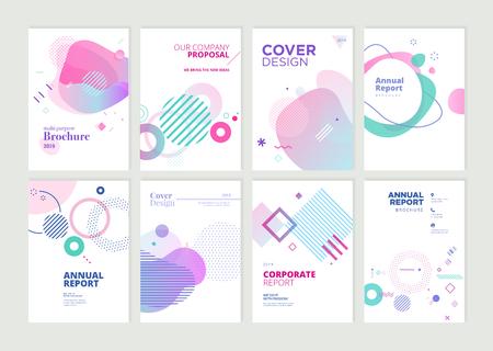 Conjunto de plantillas de diseño de folletos, informes anuales y portadas de belleza Ilustración de vector