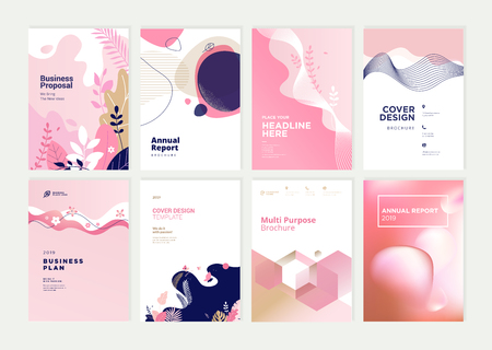 Conjunto de plantillas de diseño de folletos, informes anuales y portadas de belleza