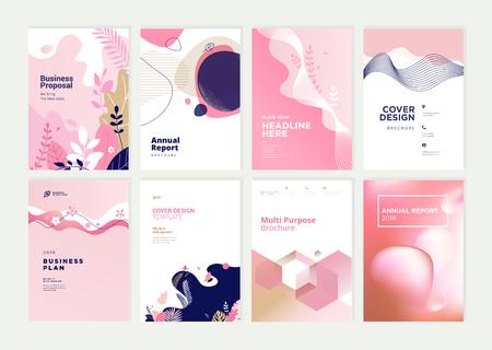 Ensemble de modèles de conception de brochure, de rapport annuel et de couverture pour la beauté