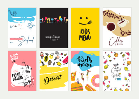 Set of restaurant menu, brochure, flyer design templates. Vector Illustratie